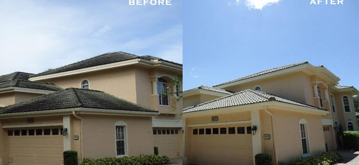 no pressure roof cleaning before after